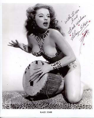 BLAZE STARR: 8x10 photo signed byBurlesque legend