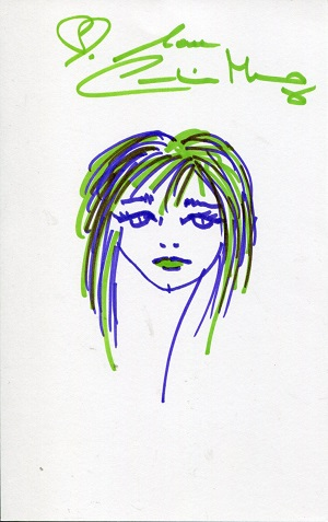 BOND GIRL SELF PORTRAIT: 8x5 inchwhite card with s
