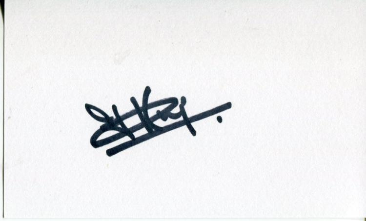 CLAIRE KING: 5x3 inch white cardsigned by Emmerdal