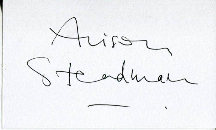 ALISON STEADMAN: 5x3 inch whitecard signed by awar