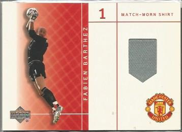 Fabien Barthez match worn card.  Unsigned Good con