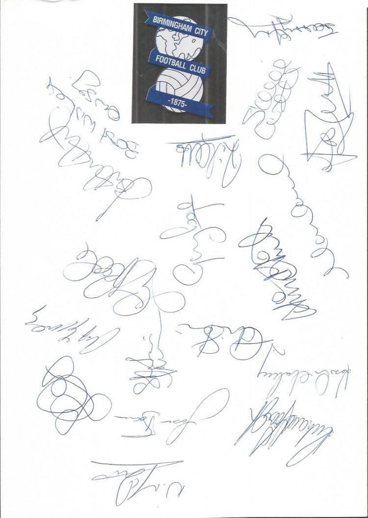 Birmingham City 1995/6 sheet signed by 18 - Hunt,