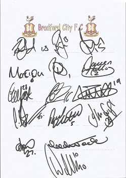 Bradford City 2004 sheet signed by 15 - Penford, H