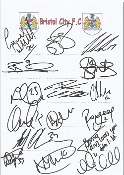 Bristol City 2008 sheet signed by 16 - Williams, M