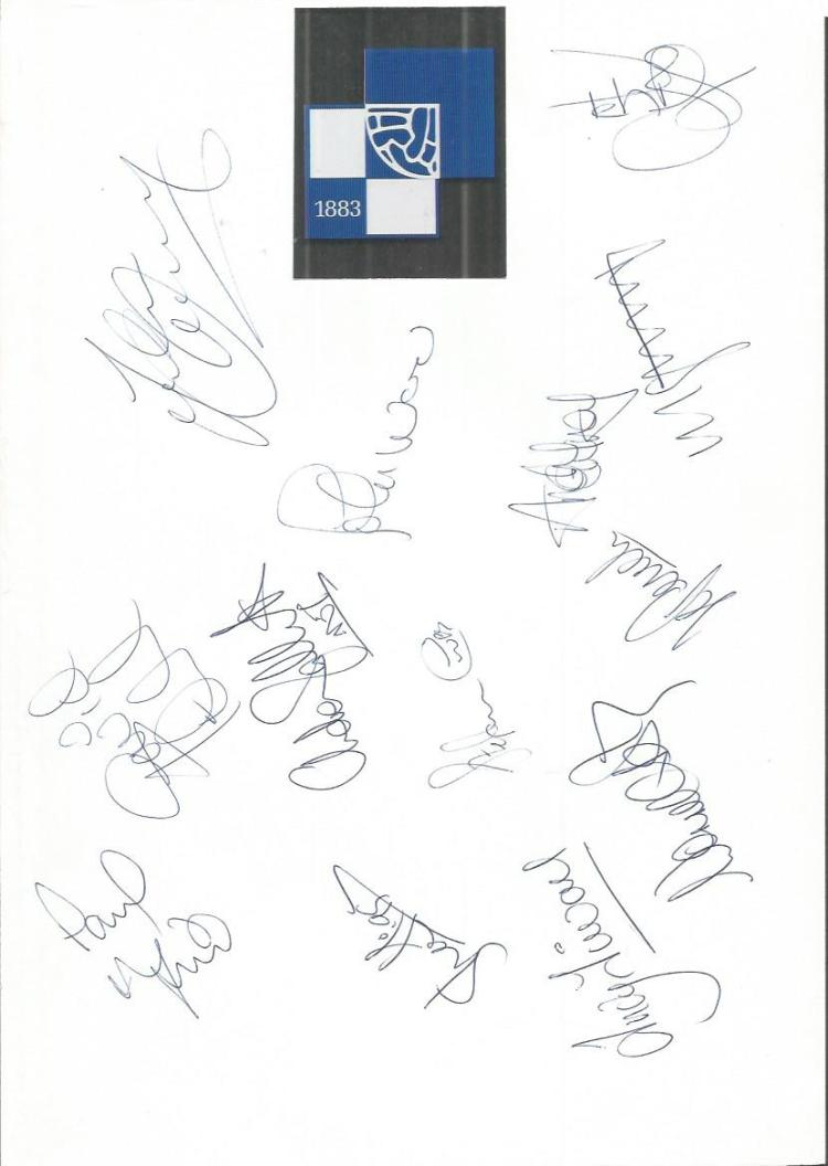 Bristol Rovers 1995/6 sheet signed by 13 - Tillson