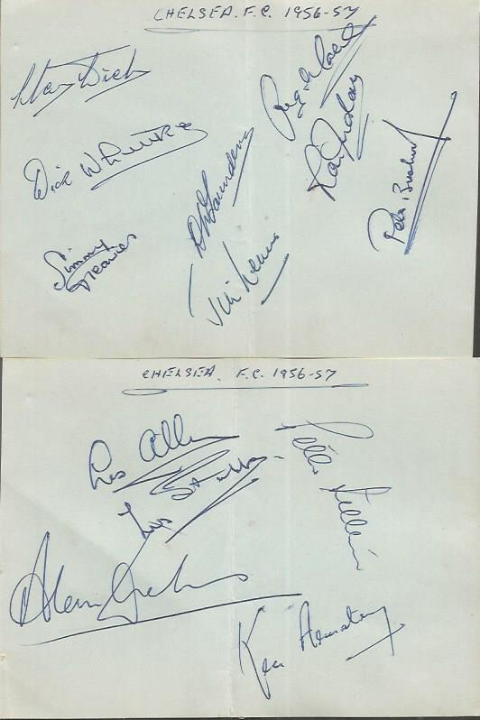 Chelsea 56/7 signed album pages.  Signed by 13 inc