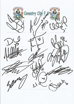 Coventry City 2008 sheet signed by 15 - Best, Gunn