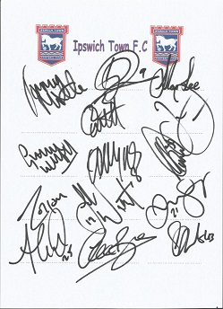 Ipswich Town 2008 sheet signed by 14 - Miller, Cou