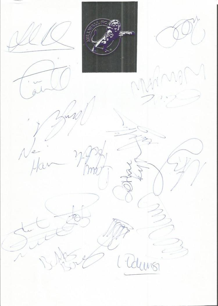 Millwall 98/99 sheet signed by  - Lavin, Ryan, Cah