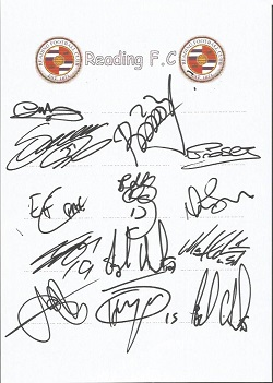 Reading FC 2008 sheet signed by 13 - Murty, Bikey,