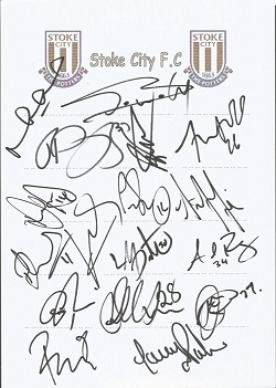 Stoke City 2008 sheet signed by 17 - Duberry, Sidi