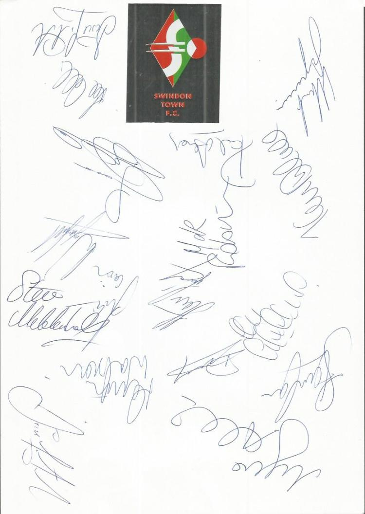Swindon Town 96/7 sheet signed by 17 - Talia, Drys