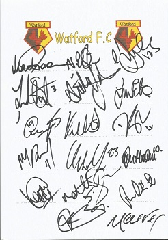 Watford 2008 sheet signed by 17 - Poom, Ellington,