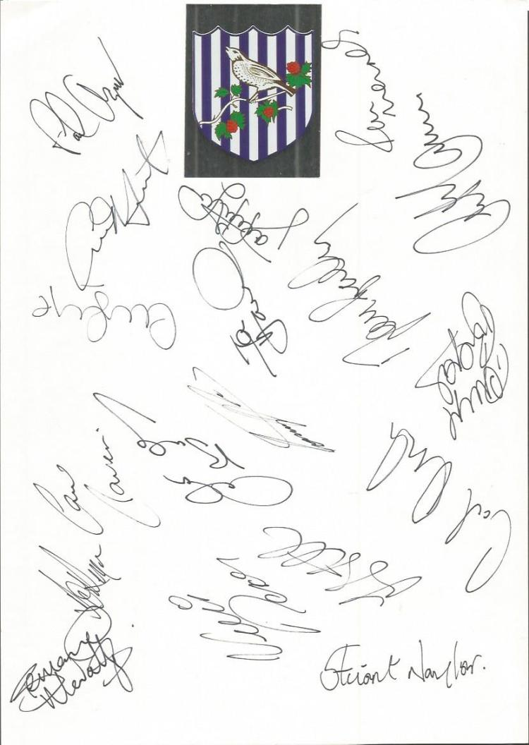 West Brom 2008 sheet signed by 18 - Thomas, Buckle