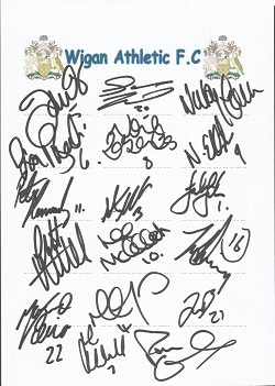 Wigan 2006 sheet signed by 17 - De Vos, Teale, Ead