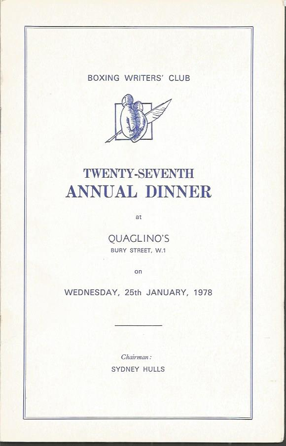1978 BOXING WRITERS AWARD BROCHURE signed by Lord