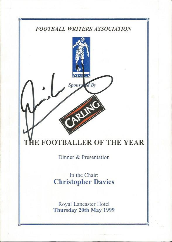 DAVID GINOLA signed 1999 Footballer of the Year Me