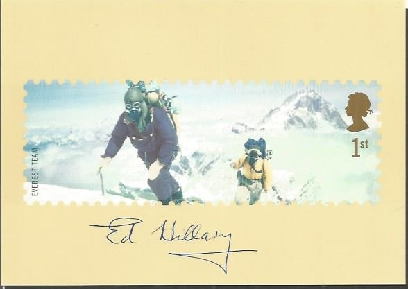 Sir EDMUND HILLARY signed Mount Everest 4x6 Postca