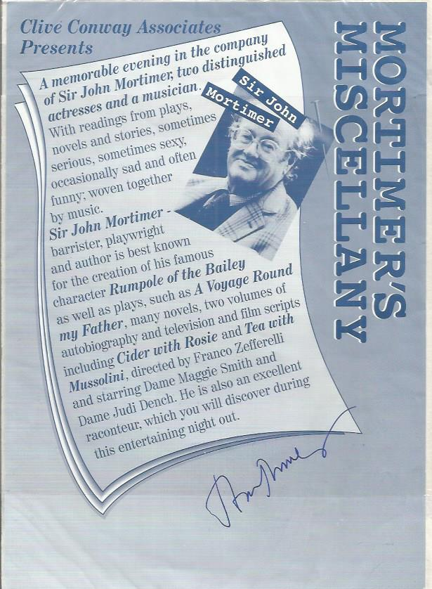 Sir JOHN MORTIMER Author signed Flyer. Good condit