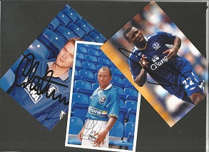 EVERTON F.C. 3 signed 4x6 Photos Yakubu, Keith Cur