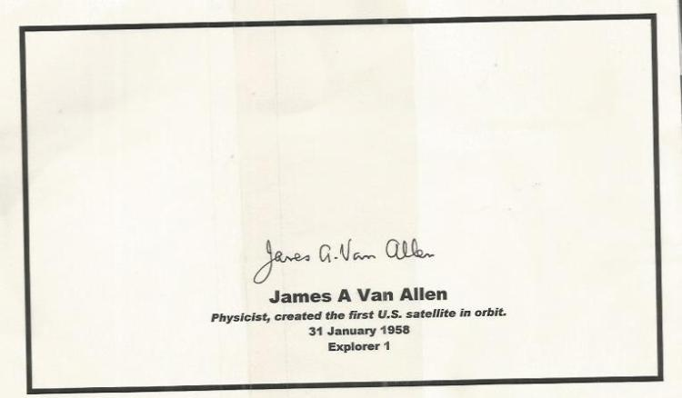 JAMES VAN ALLEN Space signed 5x8 Card Good conditi