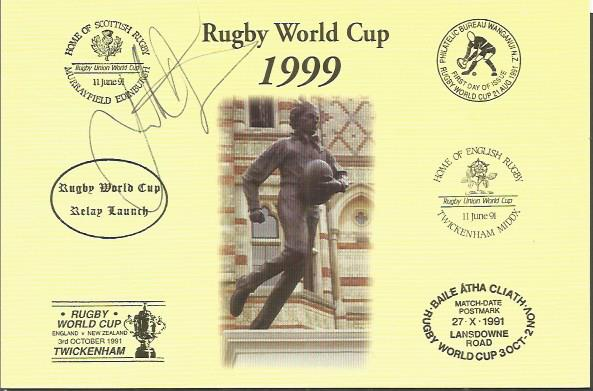 JONATHAN DAVIES signed Rugby First Day Cover Postc