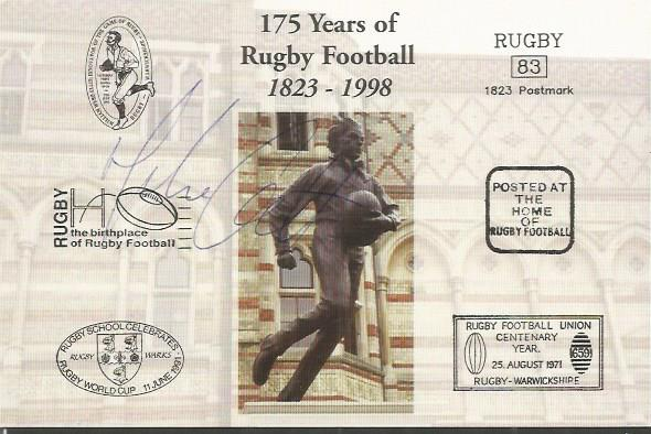 MIKE CATT signed Rugby First Day Cover Postcard Go