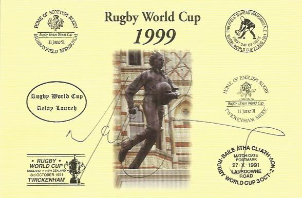 MARTIN CORRY signed Rugby First Day Cover Postcard