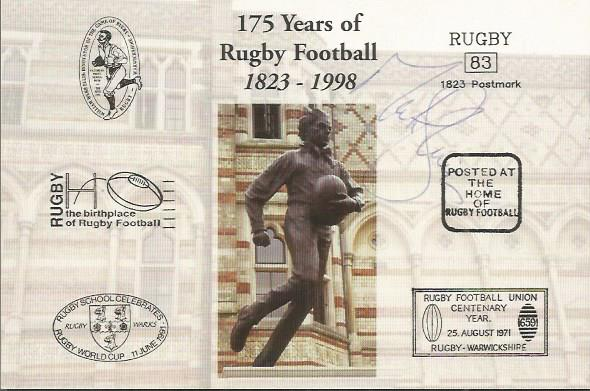MICK SKINNER signed Rugby First Day Cover Postcard