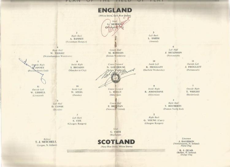 England v Scotland 1953 programme signed by Tom Fi