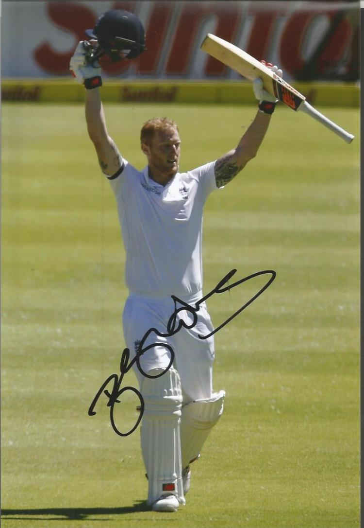 Ben Stokes signed 8x12 Photo. Good condition. All
