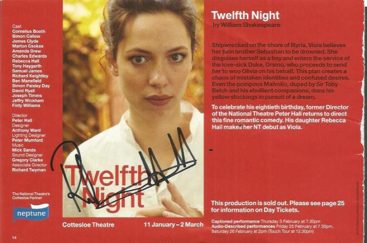 Twelfth Night autographs. Flyer and National Theat
