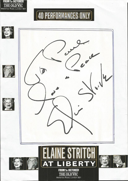 Elaine Stritch autograph. Large dedicated autograp