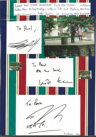 Love and Other Disasters cast autographs. Striped
