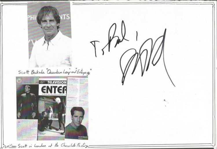 Scott Bakula autograph. Large white A4 card with t