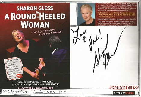 Sharon Gless autograph. Large A4 card with flyer a