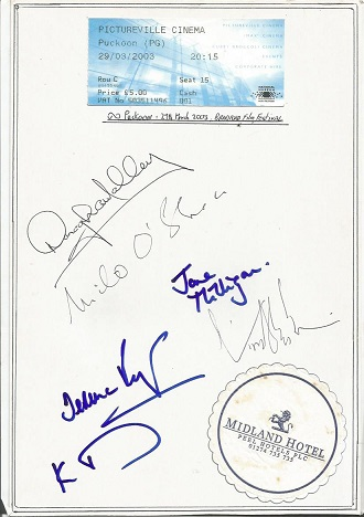 Puckoon cast autographs. A4 white card with the si