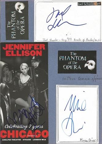 The Phantom of the Opera cast autographs. Blue A4