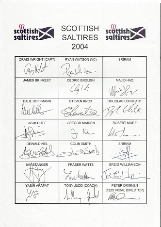 19 Scottish cricket teamsgne team sheet for 2004.