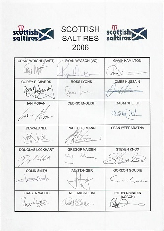 19 Scottish cricket teamsgne team sheet for 2006.