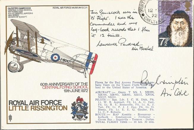 Air Cdre Roy Crompton AOC CFS 1972 signed sc21c 60