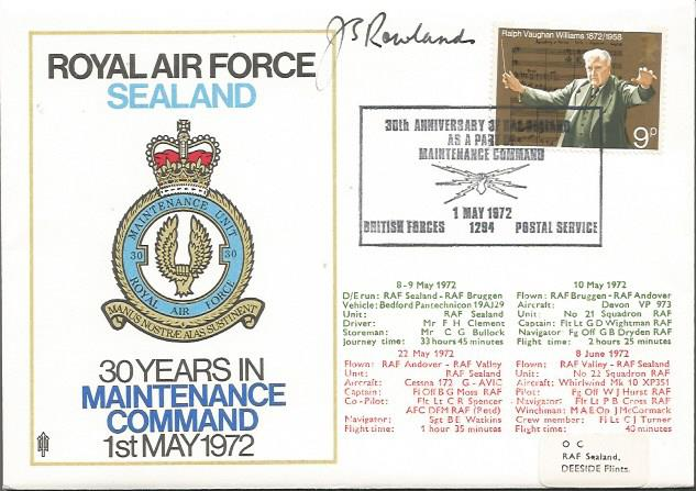 Air Marshall Sir John Rowlands GC signed RAF Seala
