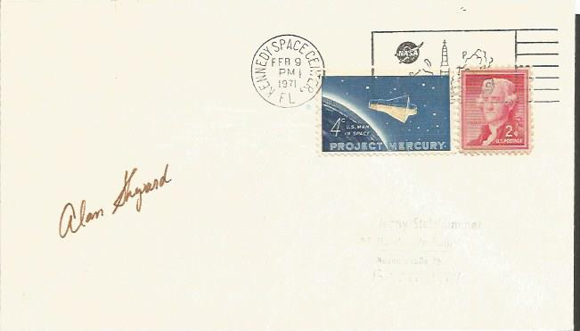 Alan Shepard signed cover. Blank 1971 Project Merc