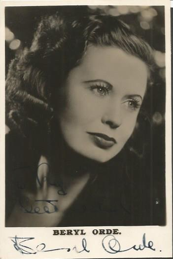 Beryl Orde signed sepia 6 x 4 photo. Dedicated act