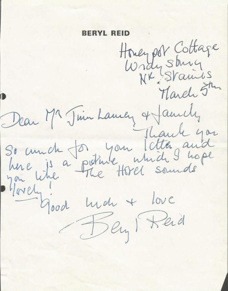 Beryl Reid handwritten letter ALS British actress