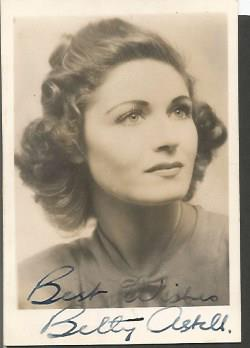 Betty Astell signed small 3 x 2 sepia photo. Eng