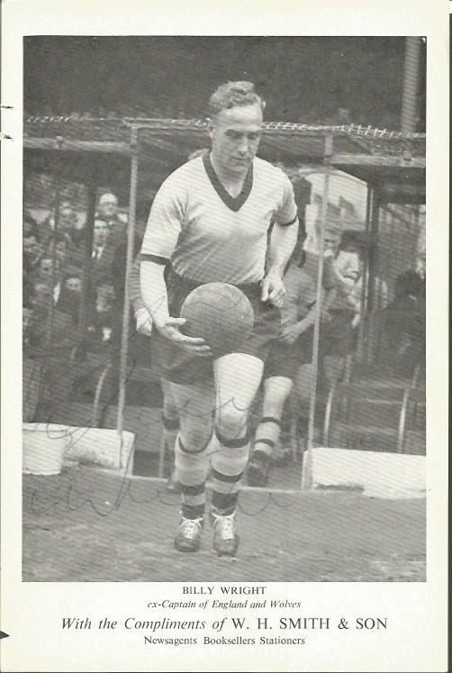 Billy Wright signed old photo. English footballer