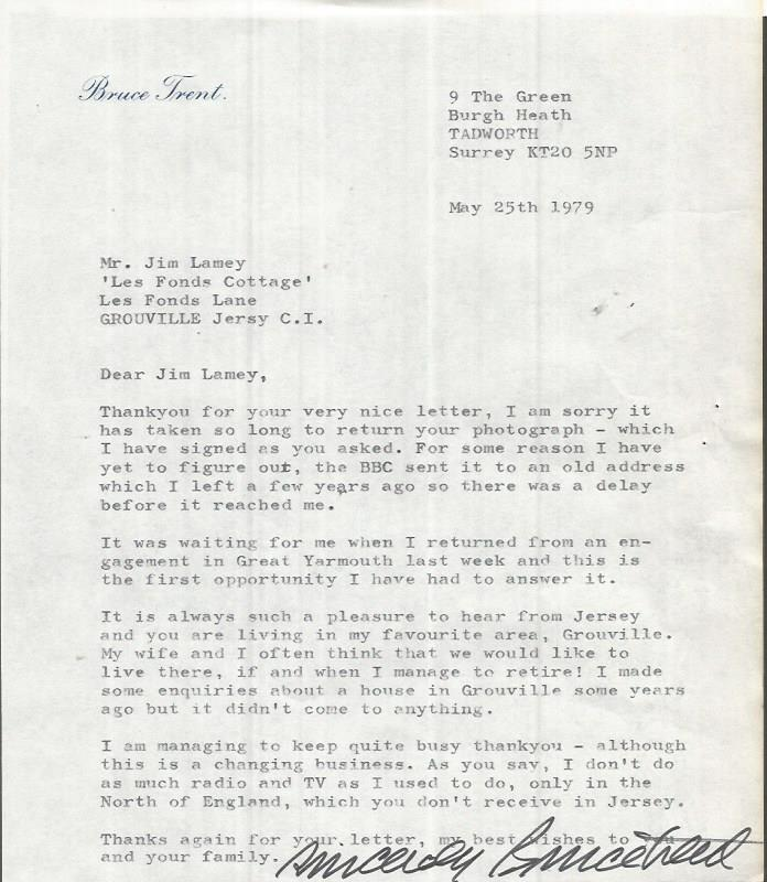 Bruce Trent Typed Signed Letter TLS dated 25/5/79