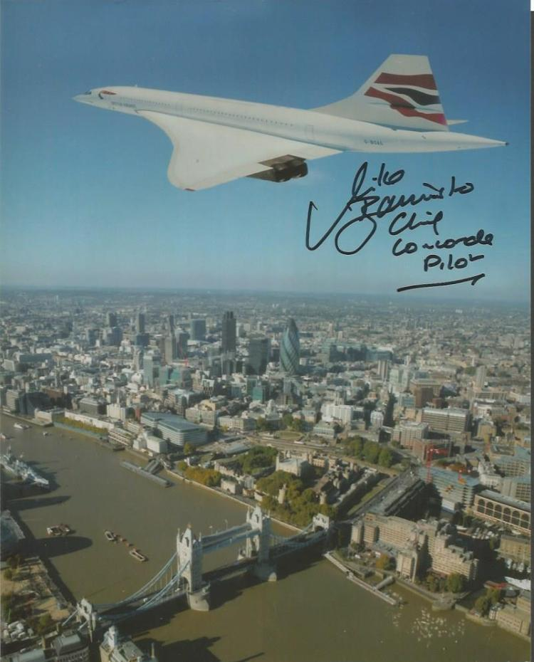 Chief Concorde pilot Mike Bannister signed 10x8 co