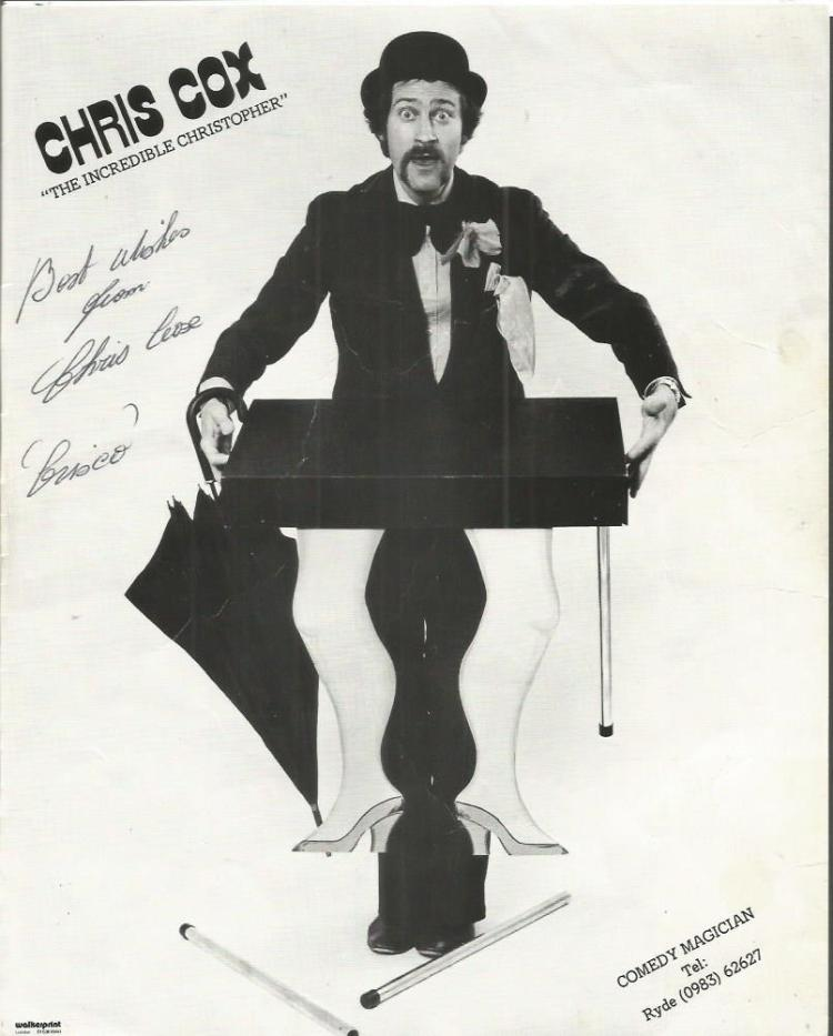 Chris Cox signed 10x8 b/w photo comedy magician Go